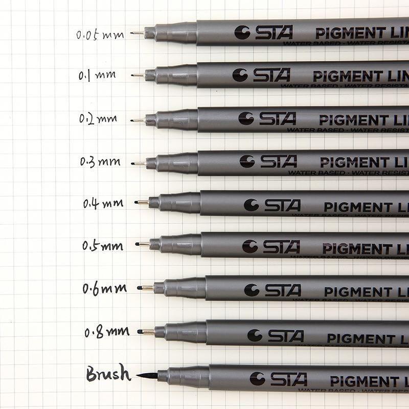 Black Drawing Pen Set Art Supplies