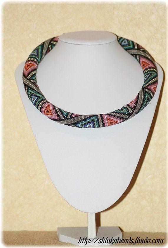 Triangles colorful geometric bead crochet rope pdf pattern ...
