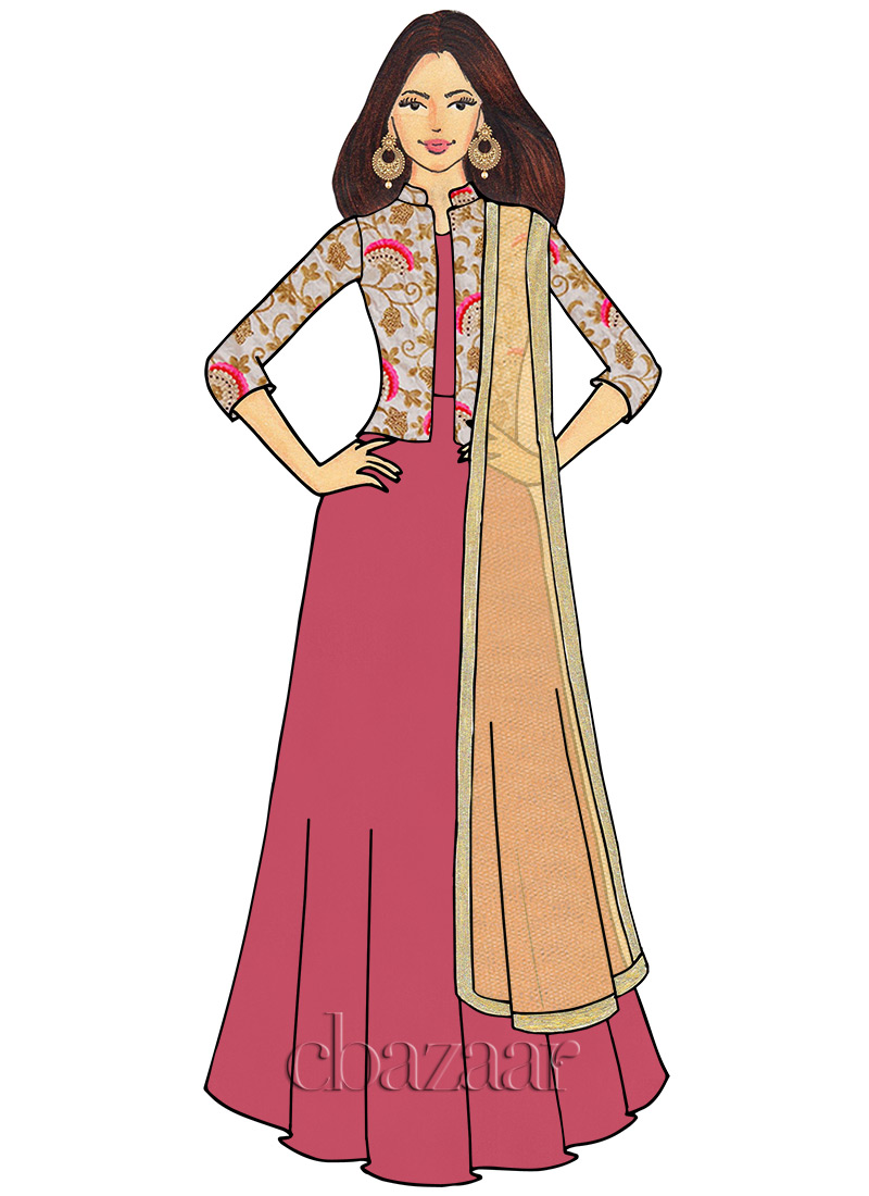 f57a57e1ec Buy EthnoVogue Custom Made Embroidered Anarkali Suit, Party ...