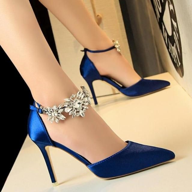 5b11af33d24e BIGTREE new Women Pumps Rhinestones High-heeled Shoes Thin Pink High Heel  Shoes Hollow Pointed Stiletto Elegant Wedding shoes