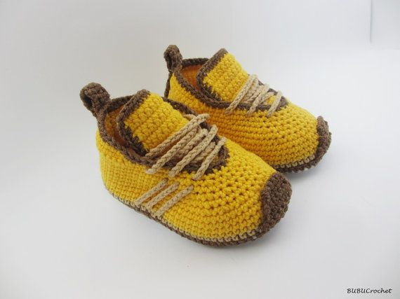 Yellow Crochet Baby Sneakers, cute baby shoes Crochet baby Sneakers ...
