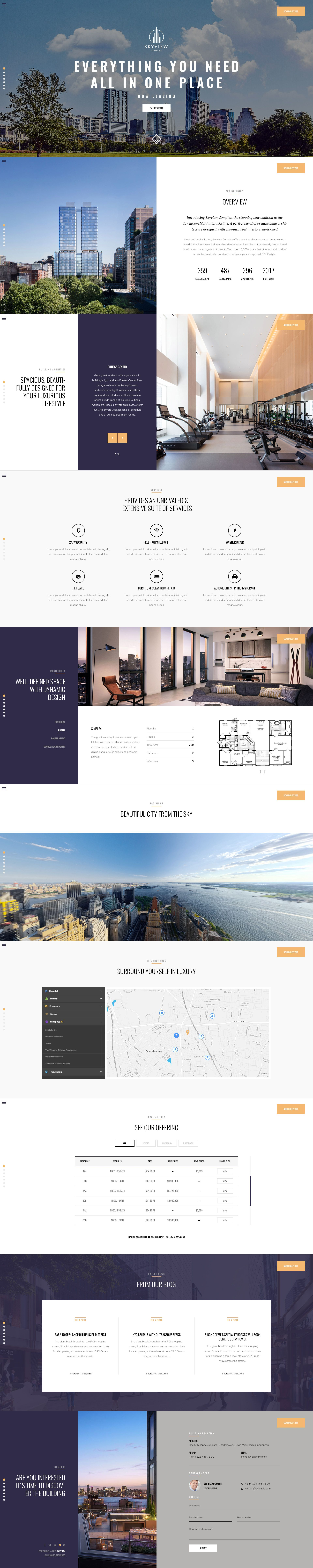 Skyview Complex One Page Single Property Wordpress Theme In 2020 Wordpress Website Design Wordpress Theme Wordpress Design