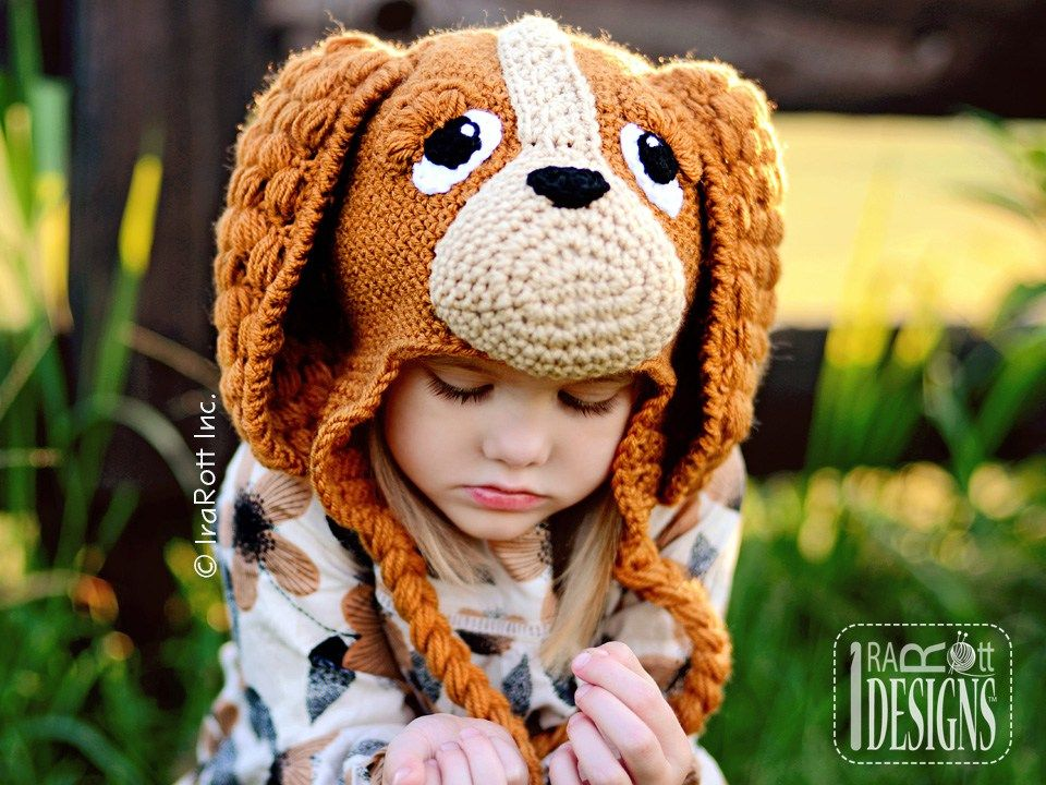 PDF Crochet Pattern for making a cute Spaniel Hat with long Ears for all  sizes. 394aa8d90950