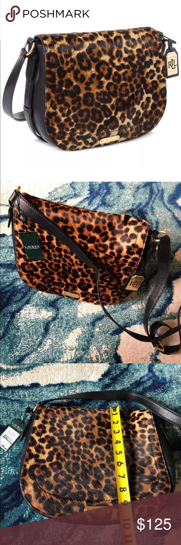 NWT Lauren Ralph Lauren Glennmore larisa bag black New with tags Lauren  Ralph Lauren glennmore Larisa messenger saddle medium bag. Leopard print  calf hair. 54f92a75d81ff