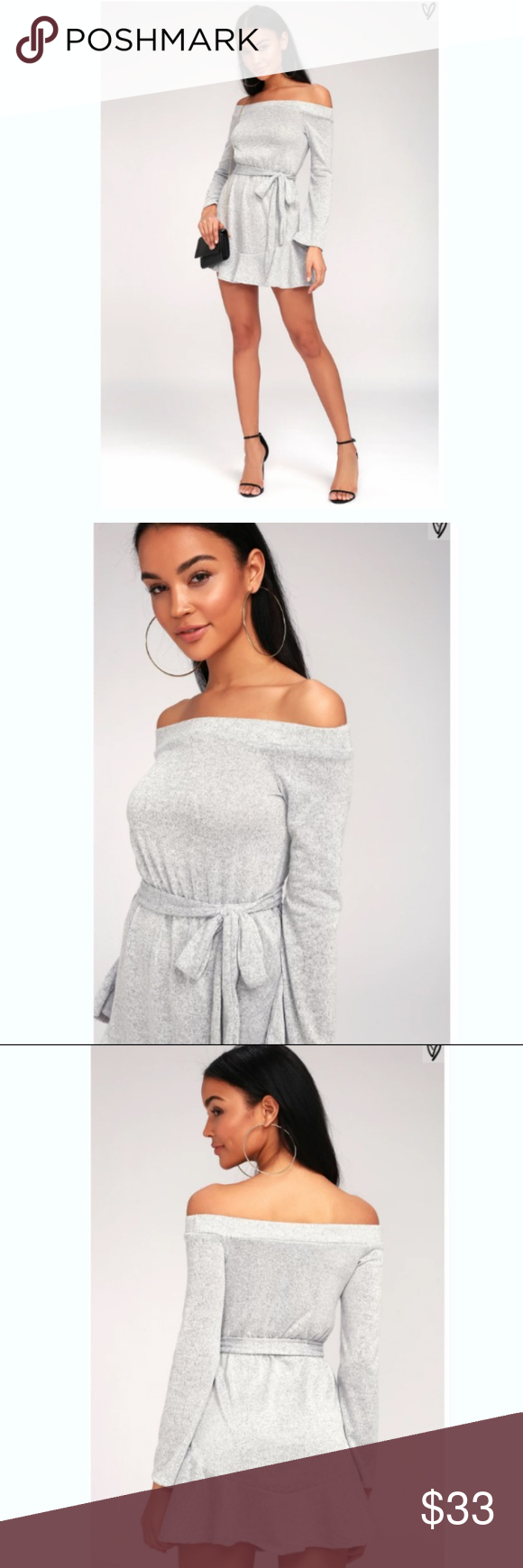 d7a0cbcebc8 NWT Lulus Cute Grey Off Shoulder Sweater Dress This dress is NEW with tags!  Originally bought for  65! An elasticized