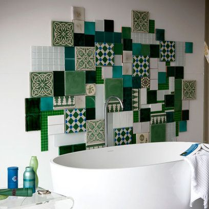 bathroom tile collage - pulls together patterns from around the world & harmonizes them w/ one unifying color to create a splashback that doubles as wall art. Try mixing & matching simple colours & styles from Topps Tiles, w/ decorative & ethnic versions from Dar Interiors -- Bathroom: Luxe Ethnic: Patchwork Tiling