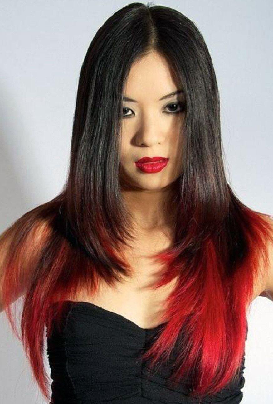 Невероятное окрашивание кончиков волос в красный цвет с ...