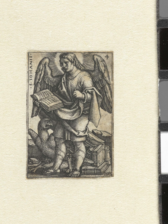 Hans Sebald Beham | Johannes de Evangelist, Hans Sebald Beham, 1541 | De vier Evangelisten in deze serie prenten zijn afgebeeld met vleugels, een beeldtaal die teruggaat op vroegchristelijke voorstellingen waar ze werden voorgesteld als gevleugelde wezens.