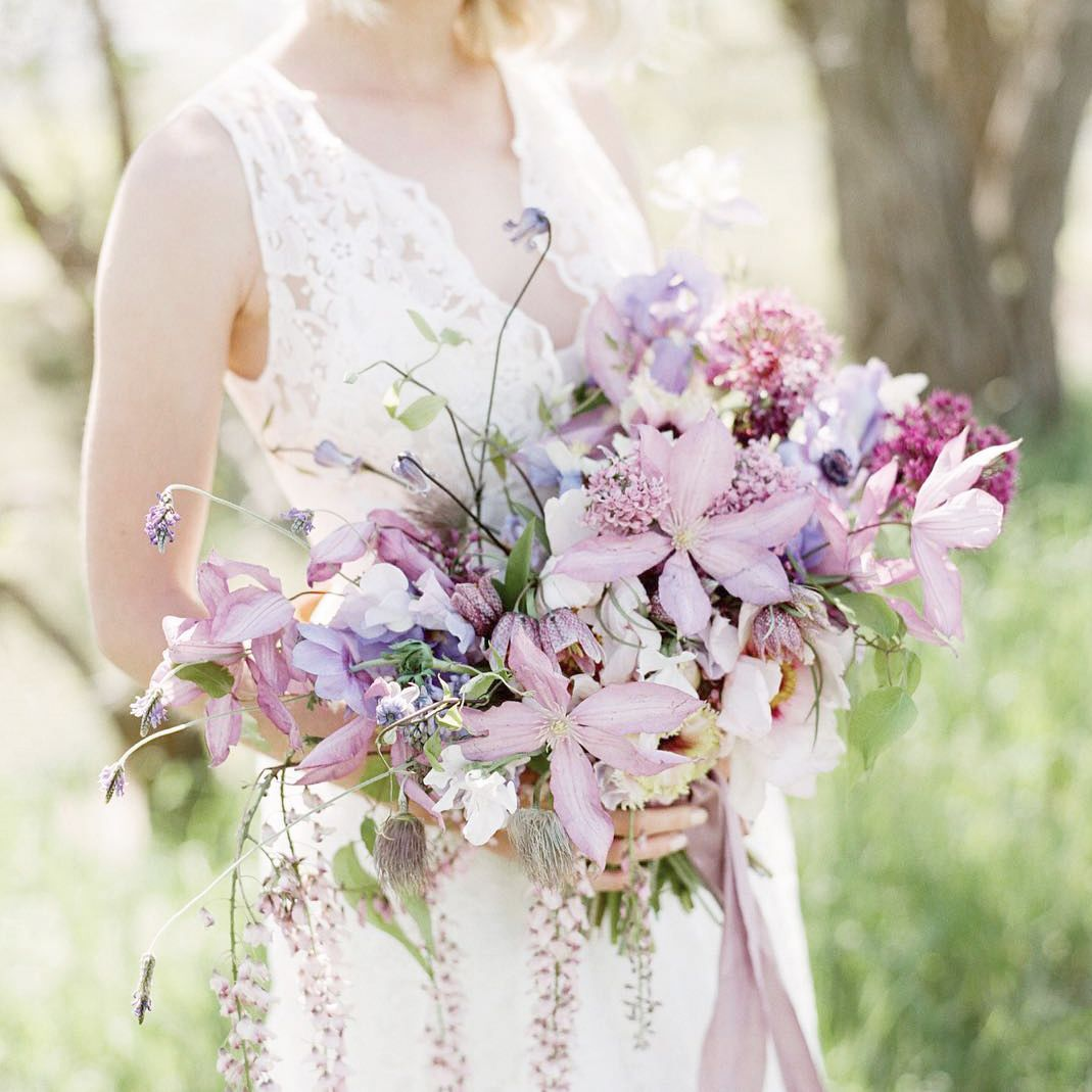 Stunning Shades Of Purple Bridal Bouquet, Perfect For A