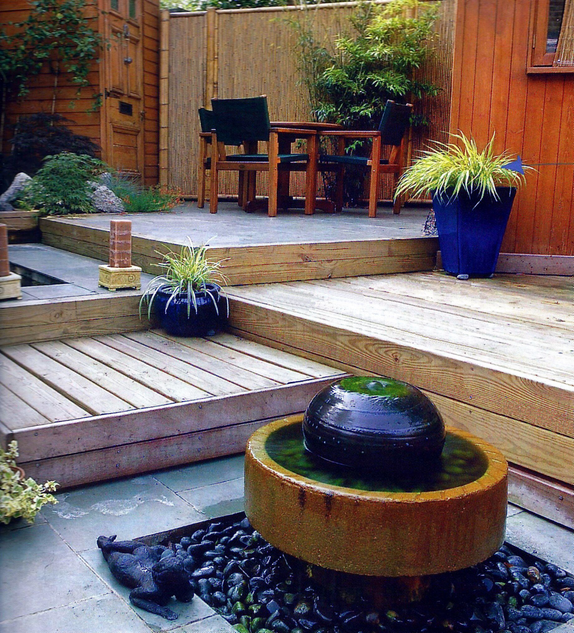 Multi level wooden deck with water features