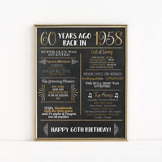 printable 60th birthday chalkboard sign back in 1958 birthday gift