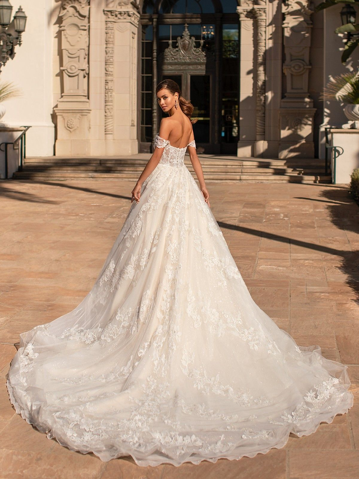 new Tulle Bridal Ball Gown A-line Cathedral train Cheap Sheer Wedding Dresses
