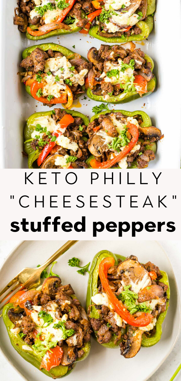 Paleo Philly Cheesesteak Stuffed Peppers with Ground Beef