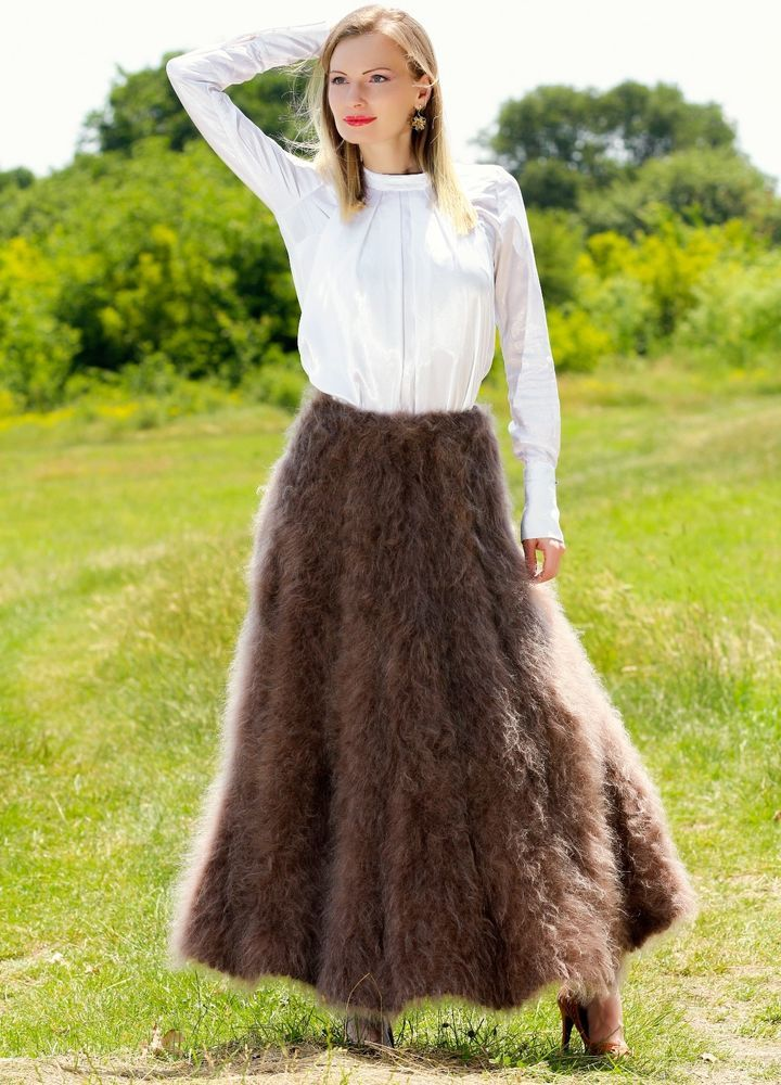 BROWN Hand Knitted Mohair Fuzzy Sweater Skirt Hand made Fluffy ...