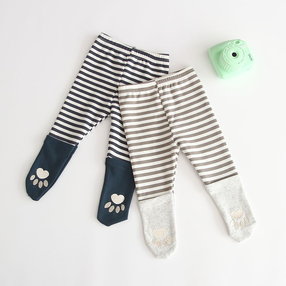 Baby Strip Footprint Leggings Kids Outfits Girls Stripes Baby Pants