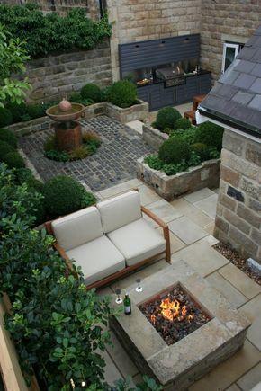 Gartenideen Für Kleine Gärten Gartenbereiche Gartenmöbel Pflanzen  Feuerstelle