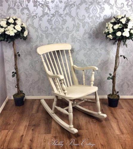 Rustic Country Antique Pine Rocking Chair Shabby Chic Vintage Windsor Fan  Back | EBay