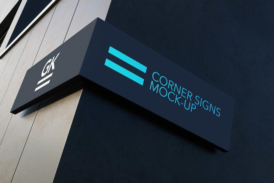 Corner Sign Mock Up Mockup Branding Templates