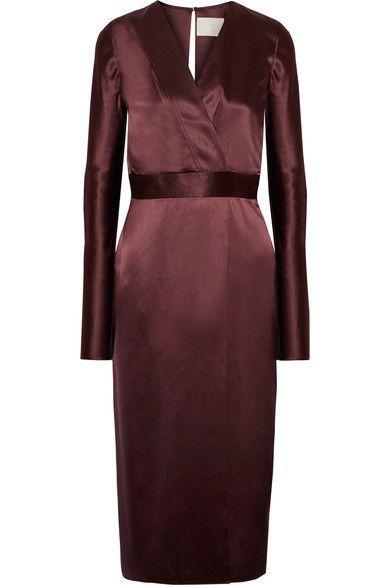 Wrap-effect Silk-satin Midi Dress - Burgundy Dion Lee fI0rowqY