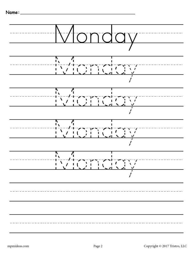 7 Days of the Week Handwriting Worksheets | Handwriting ...