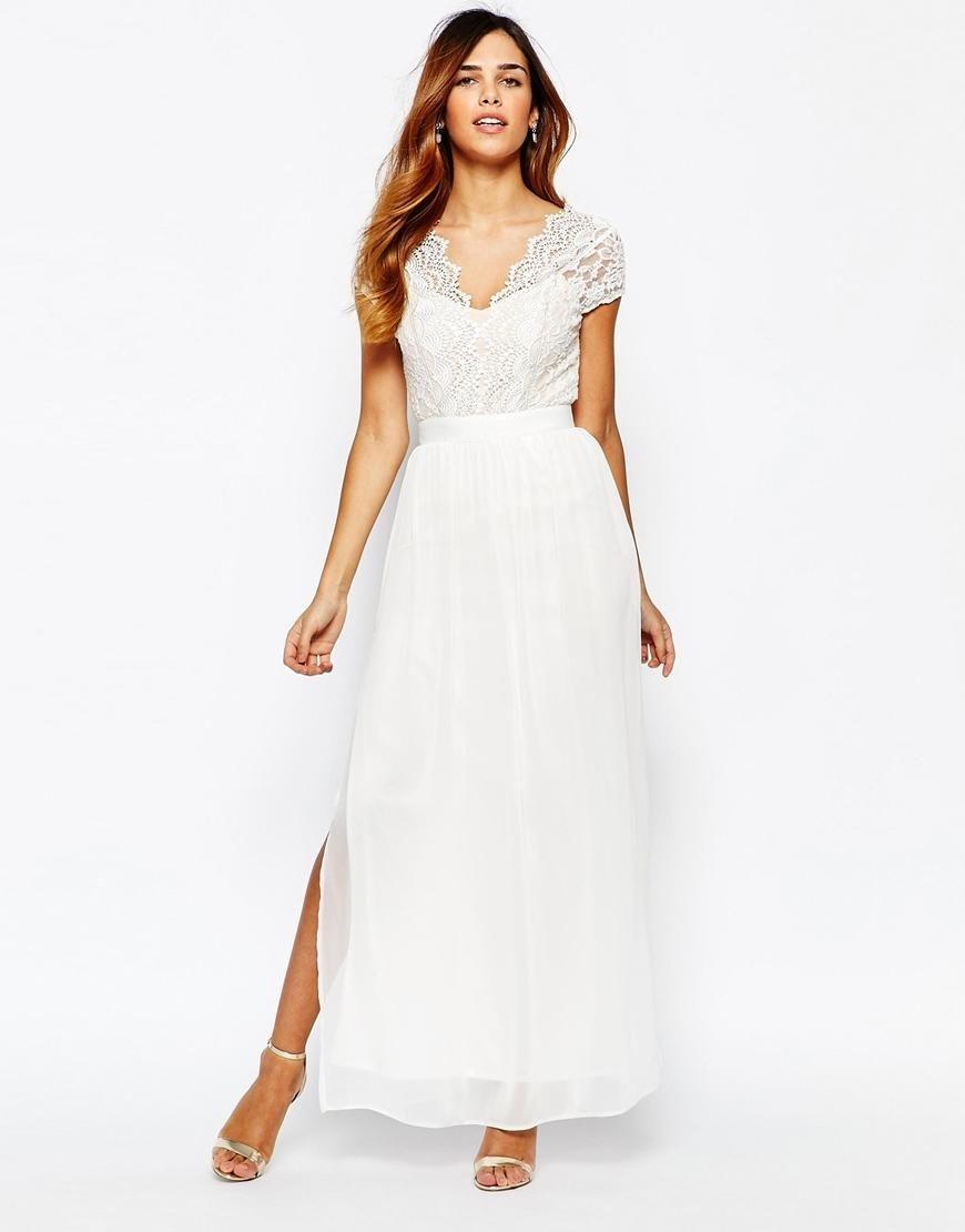 Elise ryan elise ryan scallop lace plunge maxi dress with double