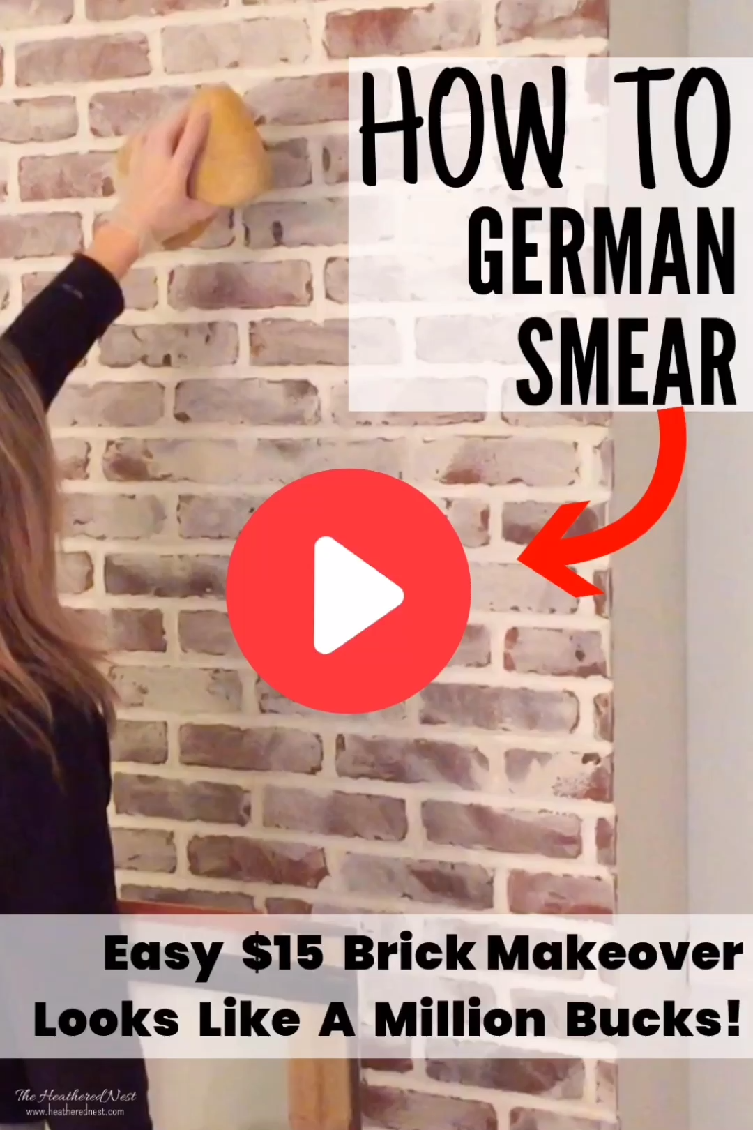 Maybe You've Seen it on Fixer Upper. Or just noticed this gorgeous brick treatment somewhere else. Guess what? It's not hard OR expensive to DIY! Here's how to tackle a DIY mortar wash, or German Smear to update your brick! #MortarWash #HowToGermanSmear #BrickMakeover #GermanSmear #BrickUpdate #HowToGermanSchmear #FixerUpperBrick #GermanSmearFireplace #GermanSmearBrickDIY #GermanSchmearBrickDIY #MortarWashedBrick #MortarWashedBrickFireplace #brickideas #brickideasDIY#GermanSchmear