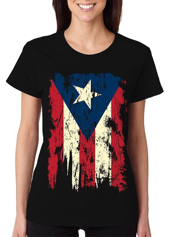 Vintage Distressed Puerto Rico Flag Boricua Borinquen Pride Etsy T Shirts For Women Women Orange And Purple
