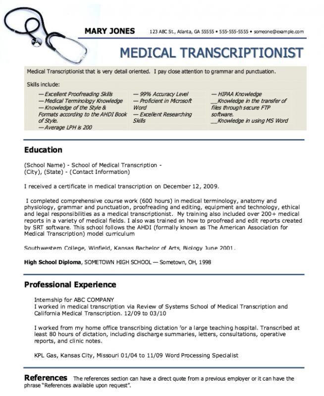 Medical Assistant Resumes Medical Transcriptionist Medical Assistant Resume Medical Coder Resume