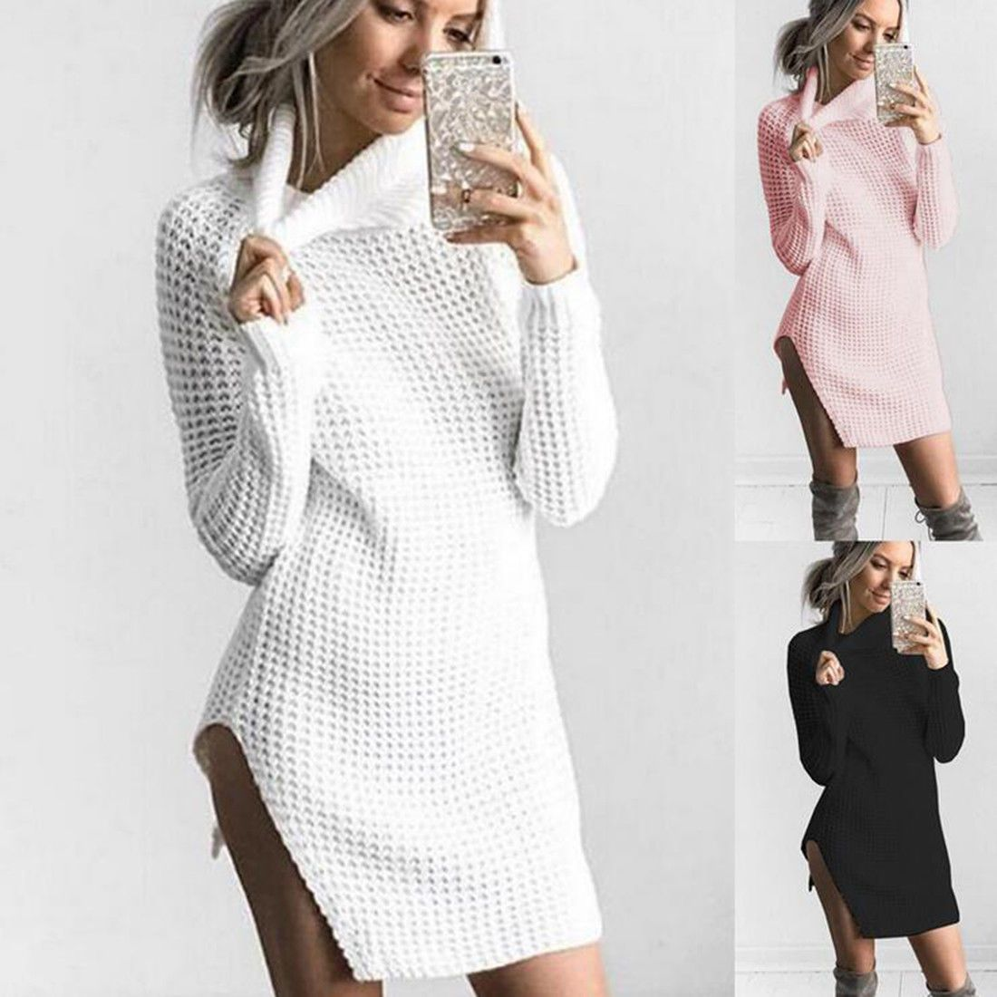 Women party evening cocktail long sleeve ladies sweater knitted slit