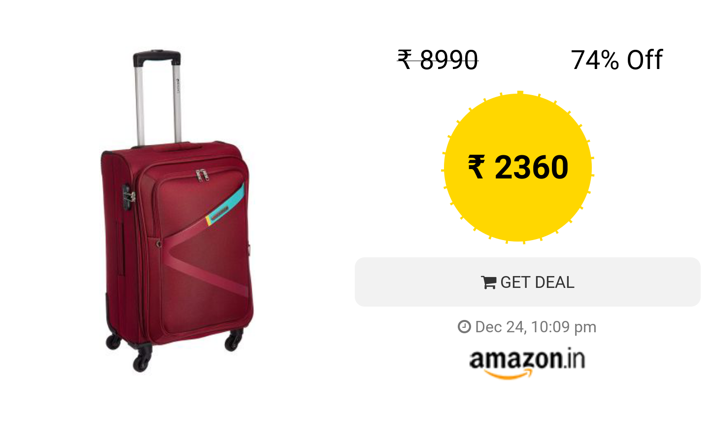 2a01826a1fd2 Safari Polyester 65 cms Ltrs Red Softsided Suitcase (Greater ...