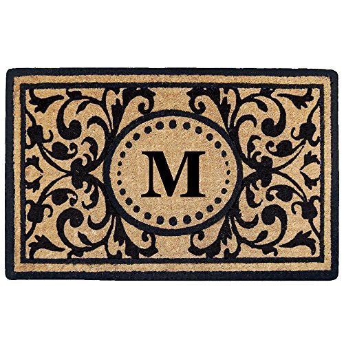 """Creative Accents Heavy Duty Heritage Coco Mat, Monogrammed M, 18 x 30"""""""
