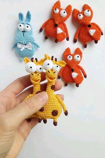 Crochet pattern bundle, giraffe brooch pattern, fox brooch pattern, hare brooch pattern, pdf/eng