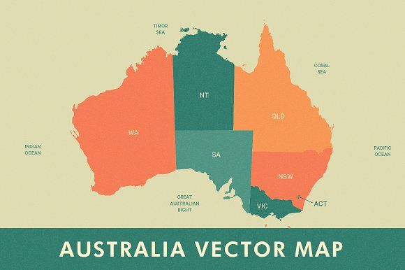 Australia Map Vector With States.Australia Vector Map Graphics Overview Stylized Vector Map Of
