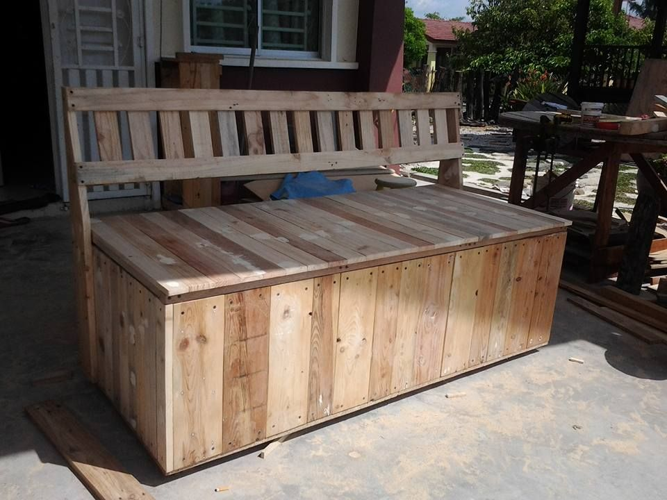 Pallet Outdoor Bench With Storage Box Outdoor Storage Bench Bench With Storage Wooden Storage Bench
