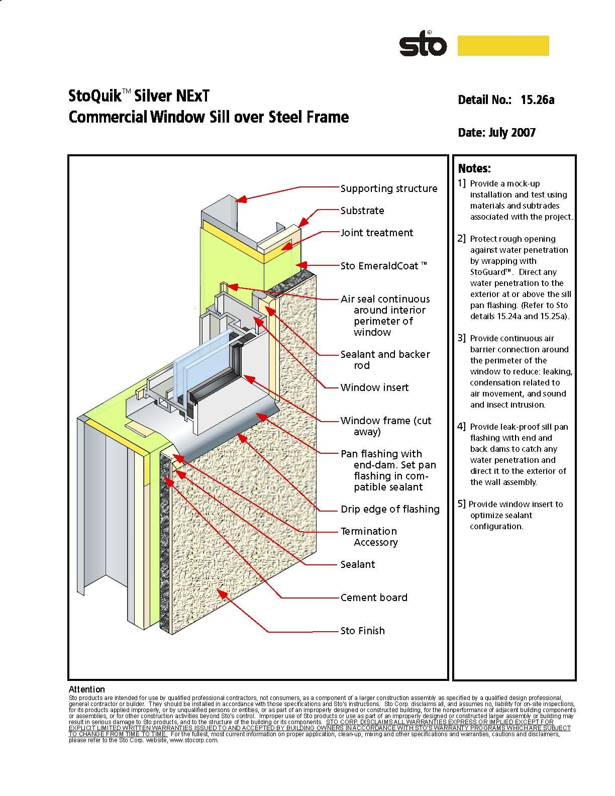 Sto wall section over steel frame diagrams drawings for Bow window construction detail