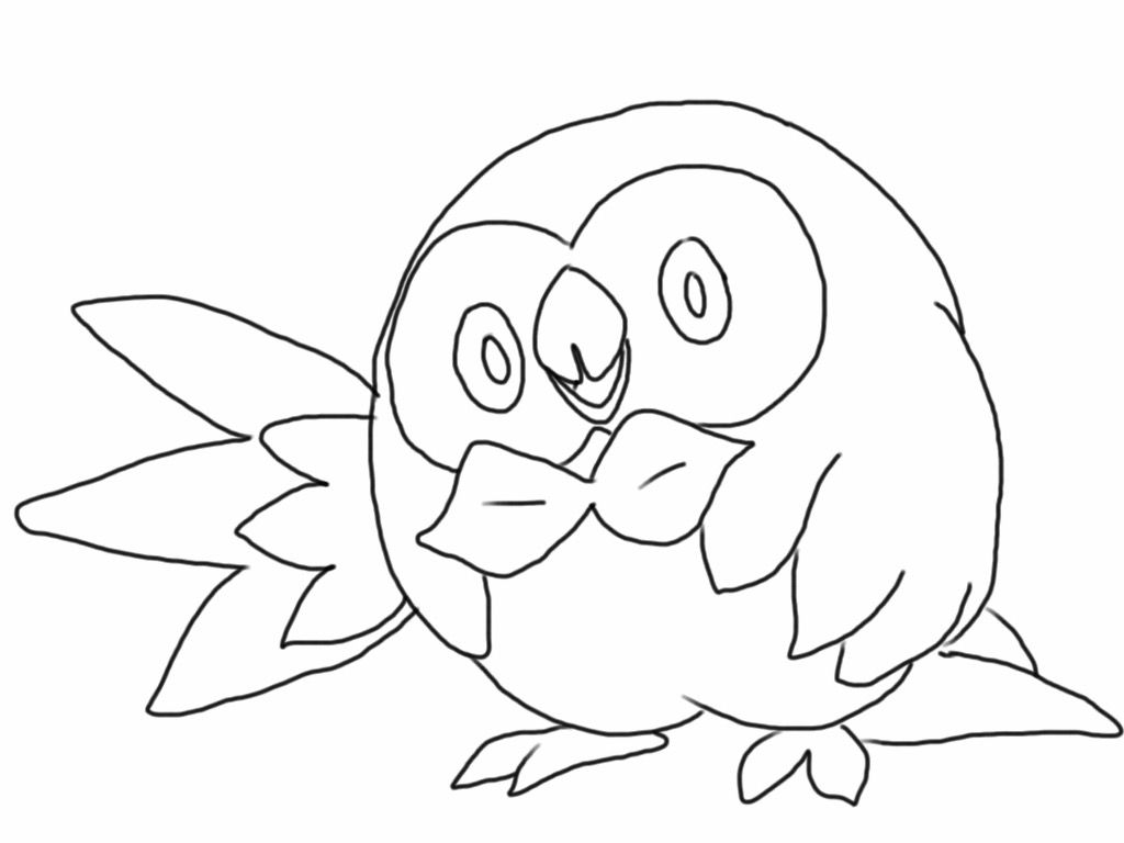 rowlett pokemon coloring page free more at aegeandrawn com