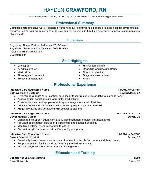 Intensive Care Nurse Resume Sample Nursing Professional Nursing