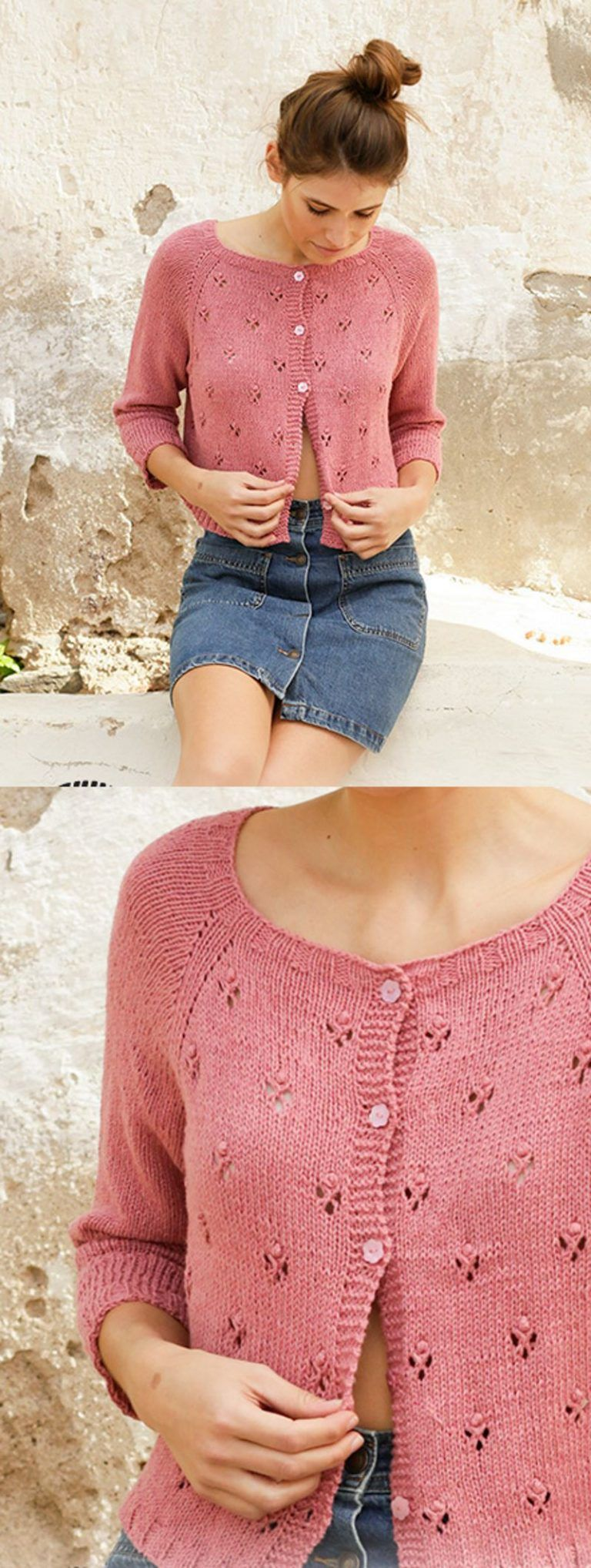 Photo of Free Knitting Pattern for a Lace stitch Ladies Raglan Cardigan