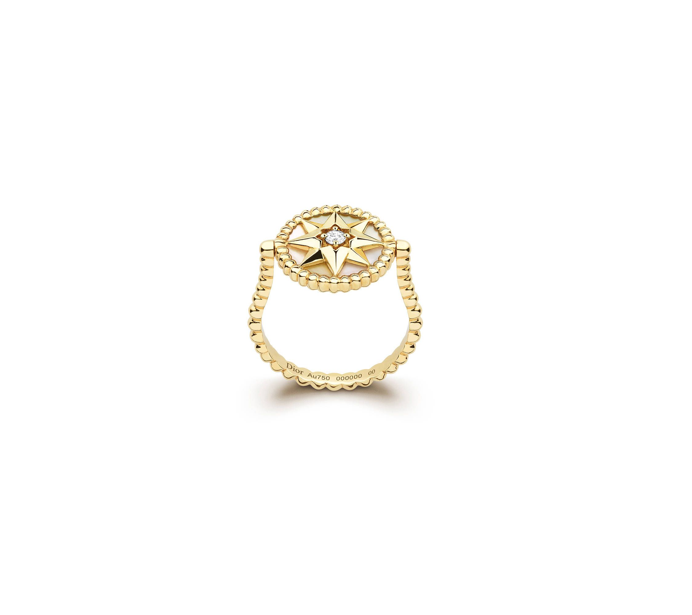 5a2f23d98f Rose des vents ring, 18k yellow gold, diamond and mother-of-pearl ...