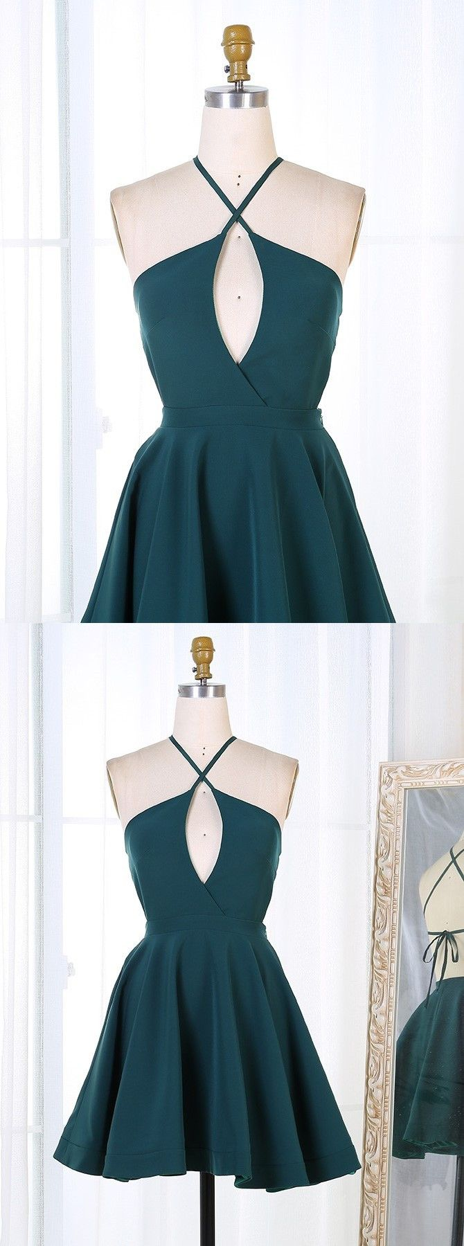 Aline spaghetti straps keyhole dark green satin homecoming dress