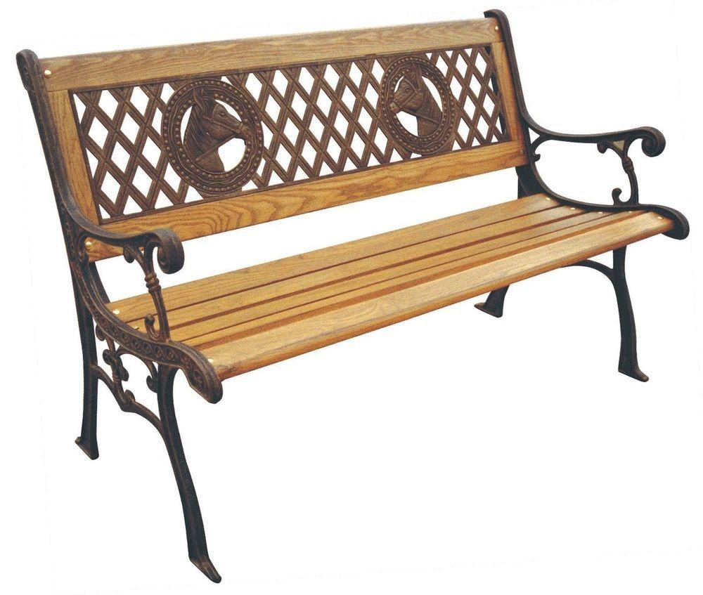 Patio Bench Cast Iron Frame Durable Wood Slats Elegant Design Horses ...