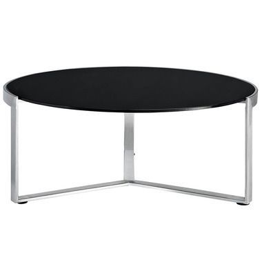 Disk Glass Top Stainless Steel Base Coffee Table in Black