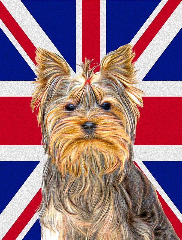 Yorkie/Yorkshire Terrier With English Union Jack British Flag Garden Flag