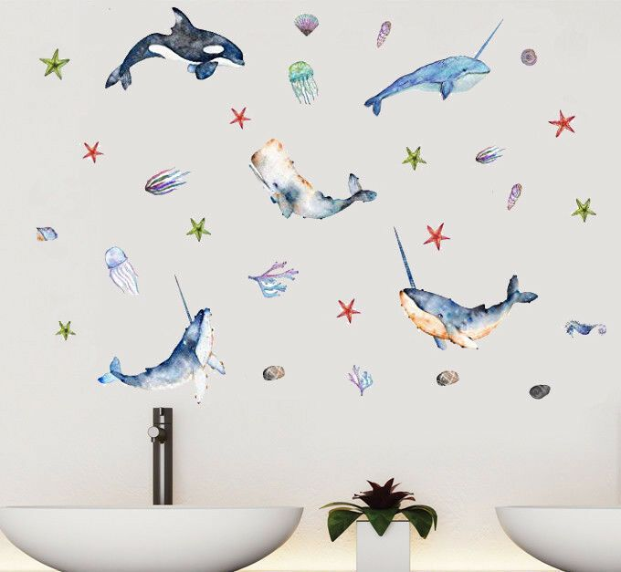bathroomart #bathroomdecor dolphin starfish wall sticker animal