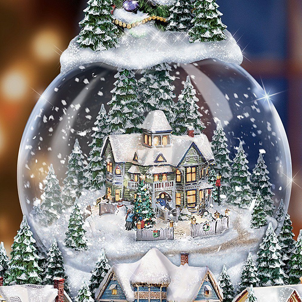 Amazon Com Thomas Kinkade Wondrous Winter Musical Tabletop Christmas Tree With Snowglobe Lights Up By T Snow Globes Christmas Snow Globes Christmas Globes