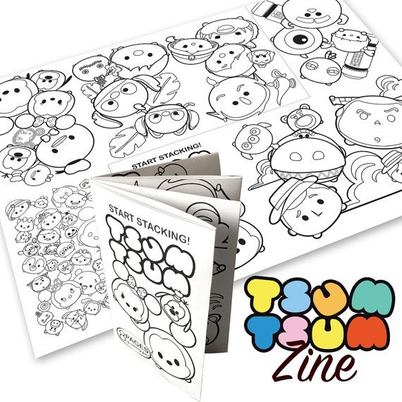 Tsum Tsum Theme Mini Coloring Book Zine Digital Pdf Prints To Letter Size 8 5 X 11 Fully Illustrated C Tsum Tsum Party Coloring Books Marvel Birthday Party