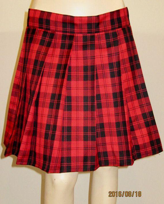 Menzies Red Plaid Pleated Skirt~Red Black Plaid Tartan Plus Size ...
