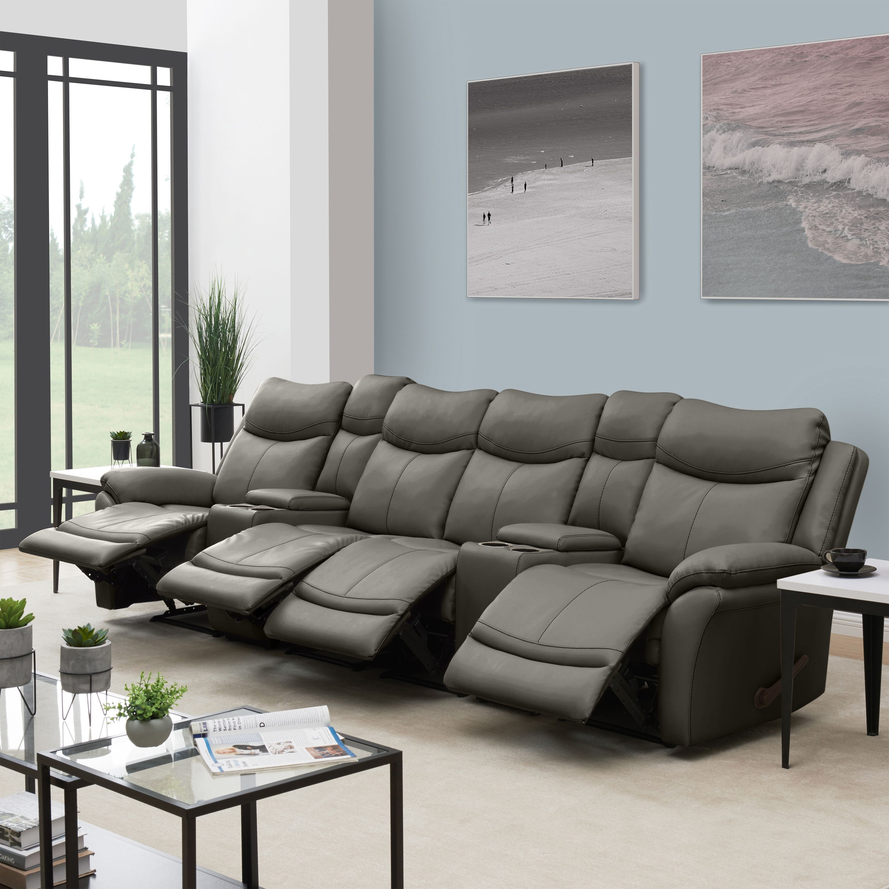 ProLounger Wall Hugger Storage Reclining Sofa in Taupe