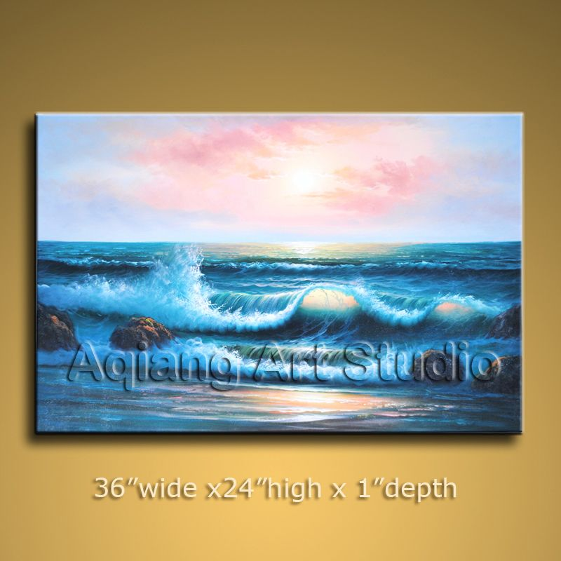 Framed Oil Painting Seascape Ocean Wave Beach ON CANVAS Wall Art $108.00  . Discover more paintings available at eBay store http://stores.ebay.com/Aqiangs-Art-Studio