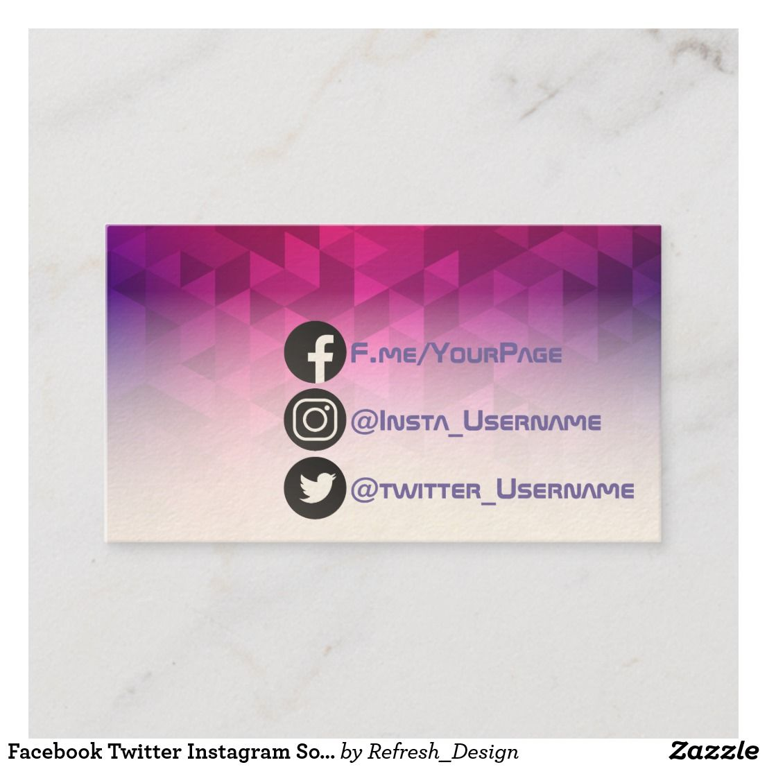 Facebook Twitter Instagram Social Geometric Modern Business Card Zazzle Com Modern Business Cards Business Card Design Card Design